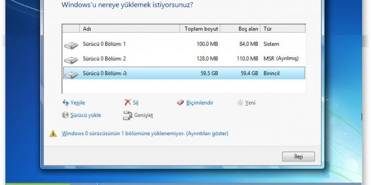 windows bu diske yüklenemez. seçilen disk gpt bölümü stilinde hatası çözümü