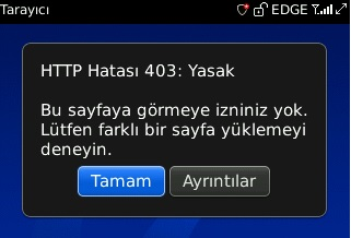 Blackberry HTTP hatası 403 Yasak