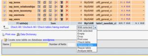 wordress-database-onar