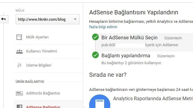 Analytics ile Adsense hesabını bağlama