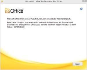 Microsoft Office Error 25004