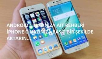 Android rehberi iPhone aktarma