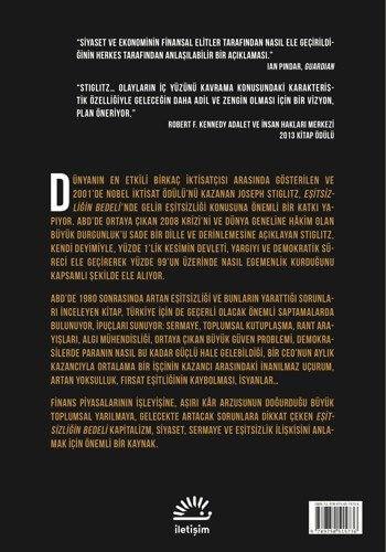 Eşitsizliği Bedeli adlı kitabın ülkemizde yayınlanan baskısına ait arka kapak resmi