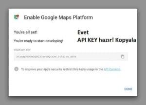 Google Haritalar API KEY oluşturduk