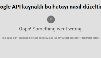 this page didn't load google maps correctly hatası çözümü