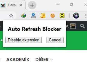 Auto Refresh Blocker eklentisi aktif olarak çalıştığında aşağıdaki gibi gözükür. Eğer Disable Extension derseniz, uzantı kapanır ve işlevsiz hale gelir.