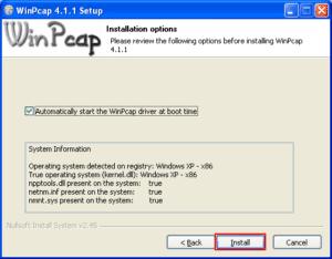 WinPcap programı tek başına kurulmak istenildiğinde böyle bir ekran geliyor.