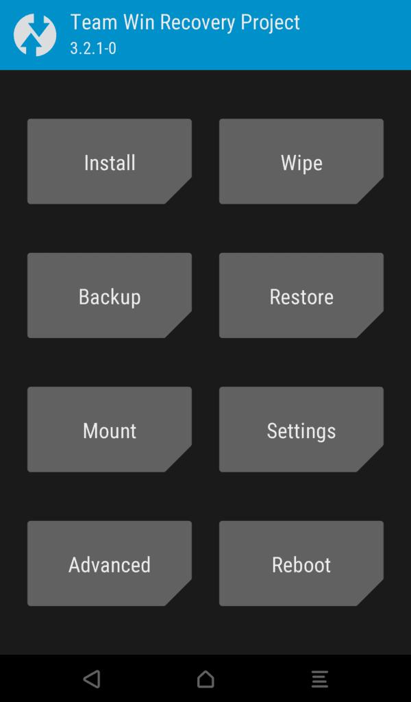 Redmi 5 Plus TWRP Ekranı örneği bu şekilde.