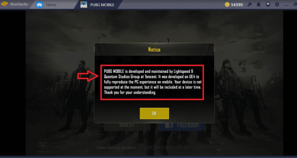 """Bluestacks  emülatör üzerinde PUBG Mobil """"Cihaz Desteklenmiyor"""" hatası ekran görüntüsü"""