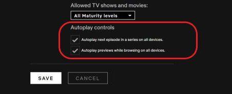 Netflix otomatik oynatma ayarlarını kapatmak için bu seçeneklerin seçili olmaması gerekiyor.